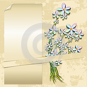 Delicate Flowers Vintage Grunge Label Card Stock Photo - Image: 25117780