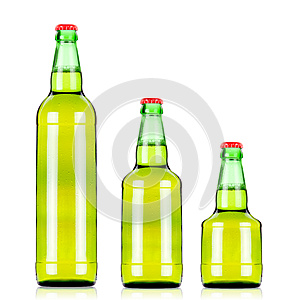 Three  Beers Bottles Of Different Size Stock Image - Image: 25121351