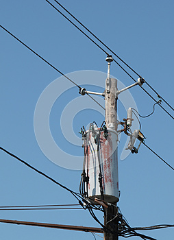 Wooden Electrical Pole Isolated. Stock Photos - Image: 25122063