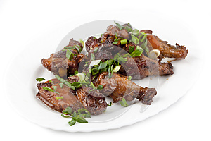 Fried Chicken Legs With Green Onions Stock Photos - Image: 25122743