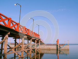 Red Pier Stock Photo - Image: 25129000