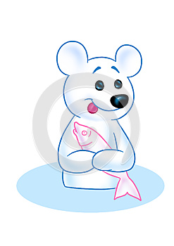 Polar Bear And Fish Royalty Free Stock Photo - Image: 25138825