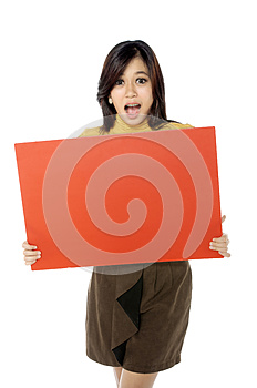 Woman Hold Banner Stock Image - Image: 25174531