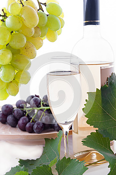White Wine Bottle, Glass And Cask With Grapes Stock Images - Image: 25176264