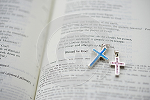 Bible And A Pair Of Cruxific Royalty Free Stock Image - Image: 25192576