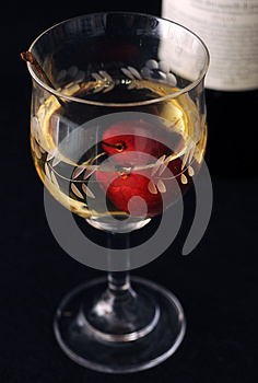 White Wine And Cherry Royalty Free Stock Photography - Image: 25235807