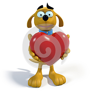 Brown Cartoon Dog Holding A Heart Royalty Free Stock Image - Image: 25241016