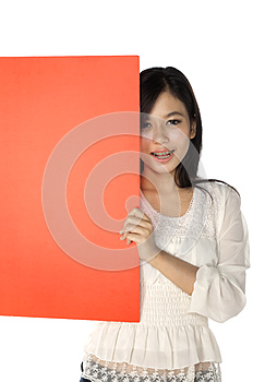 Woman Hold Banner Royalty Free Stock Photography - Image: 25246127