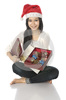Woman Show Her Present Royalty Free Stock Photo - Image: 25246195