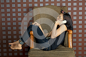 Phone And Sit On Chair Stock Photos - Image: 25246283
