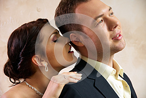 Bride And Groom Hugging In Empty Room Stock Photos - Image: 25253593
