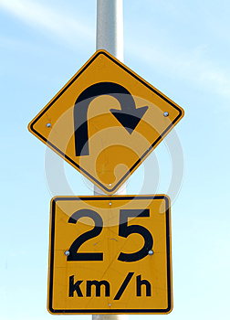 Sharp Turn Sign Royalty Free Stock Photos - Image: 25264588