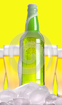 Open Beer Bottle With Ice And Foam Royalty Free Stock Image - Image: 25270386