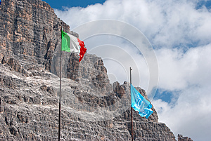 Italian And Unesco Flags Stock Photos - Image: 25279803
