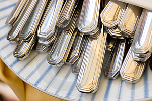 Cutlery In A Napkin Royalty Free Stock Photo - Image: 2530015