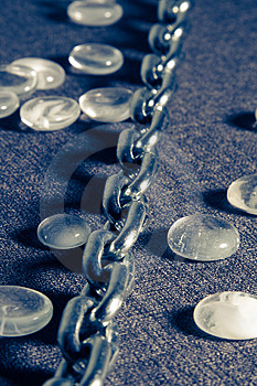 Steel Chain In Blue Royalty Free Stock Photography - Image: 2530457