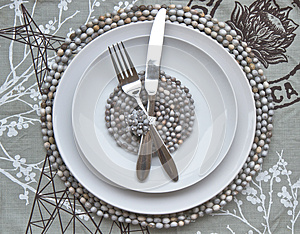 Table Place Setting With African Beaded Place Mats Stock Photo - Image: 25320420