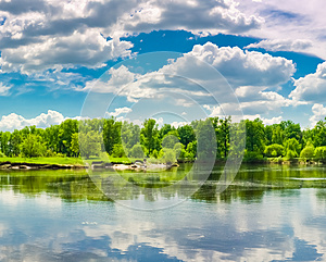 Clouds Reflection On Lake. Stock Images - Image: 25334714
