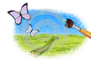 Painting  A Spring, Summer Scene Royalty Free Stock Photos - Image: 25340818