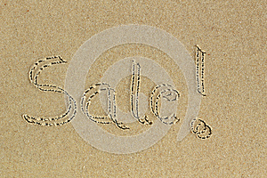 Sale Word Handwritten As Text On Sand In A Beach Royalty Free Stock Photography - Image: 25347287