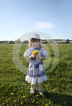 Little Girl Holds Yellow Dandelions On Green Field Royalty Free Stock Photography - Image: 25350797