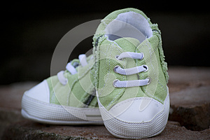 Green Baby Sneaker Shoe Royalty Free Stock Images - Image: 25352549