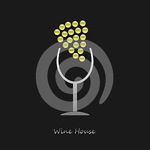 Logo Wine House On Black Background Stock Image - Image: 25356781