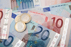 Euro Coins And Banknotes Royalty Free Stock Image - Image: 25361126