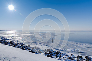 Sunny View Across Frozen Lake Royalty Free Stock Photography - Image: 25363097