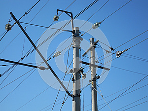 Electrical Post With Power Line Cables Stock Photo - Image: 25363450