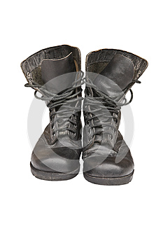 Old Leather Military Boots Stock Photo - Image: 25371190