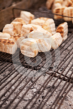 Traditional African 'roosterkoek' On Metal Grid Royalty Free Stock Images - Image: 25372099