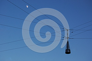Wired Street Lamp Royalty Free Stock Images - Image: 25372179