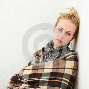 Young Girl Wrapped In A Blanket Stock Images - Image: 25373294