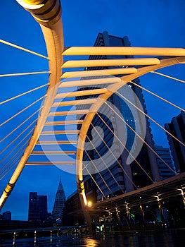 Pubic Skywalk At Bangkok Downtown Square At Night Stock Images - Image: 25386014