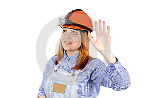 Girl Welcomes The Builder Of Hard Hat Stock Photos - Image: 25387933