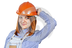 Happy Girl To Builder The Helmet Royalty Free Stock Photos - Image: 25387978