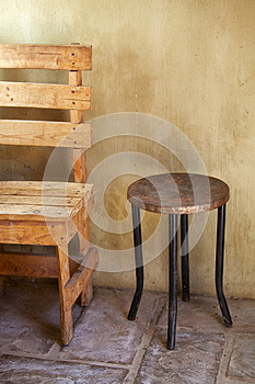 Table And Chair, Rustic Stock Images - Image: 25389894