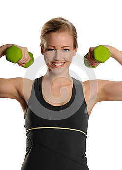 Young Blond Woman With Dumbbells Stock Photo - Image: 25391760