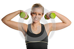 Young Blond Woman With Dumbbells Stock Photography - Image: 25391762