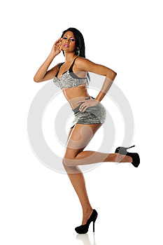 Young Black Woman Wearing A Mini Skirt Stock Photos - Image: 25391853