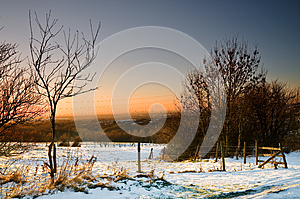 Sunset And Snow At Ashton Under Lyne Royalty Free Stock Images - Image: 25396859