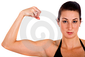 Fitness girl showing her bicep Stock Photography