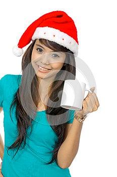 Santa Woman Drinking Stock Images - Image: 25411454