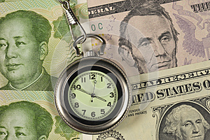 Pocket Watch And Dollar USA Vs RM Stock Photography - Image: 25418212