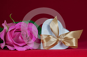 Heart Shaped Gift Box With  Pink Rose Royalty Free Stock Photography - Image: 25419867