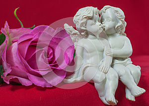 Angels Kissing And Pink Rose Stock Images - Image: 25419894