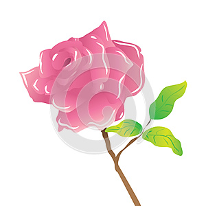 A Stem Pink Rose On White Stock Photography - Image: 25433362
