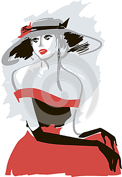 Retro Lady In A Hat Royalty Free Stock Photo - Image: 25445045