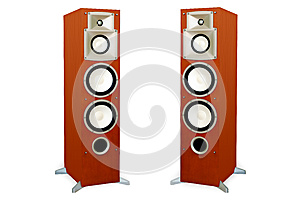 Audio Speakers In Wooden Case Isolated On White Royalty Free Stock Photography - Image: 25447687